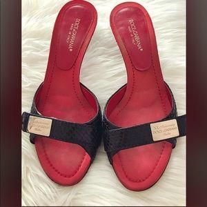 Dolce Gabbana Black Snakeskin Leather Satin mules